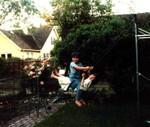 Rachel & I swinging, 1987